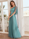 Simple Maxi One Shoulder Tulle Bridesmaid Dress-Dusty Blue 1