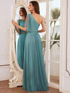 Simple Maxi One Shoulder Tulle Bridesmaid Dress-Dusty Blue 3