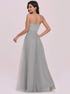Elegant Sleeveless Deep V-neck Pleated Prom Dress-Grey 5