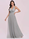 Elegant Sleeveless Deep V-neck Pleated Prom Dress-Grey 6