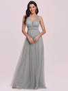 Elegant Sleeveless Deep V-neck Pleated Prom Dress-Grey 7