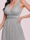 Elegant Sleeveless Deep V-neck Pleated Prom Dress-Grey 8