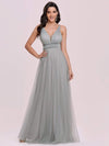 Elegant Sleeveless Deep V-neck Pleated Prom Dress-Grey 4