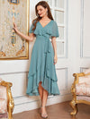 Simple Tea Length V Neck Chiffon Bridesmaid Dress-Dusty Blue 1