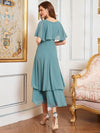Simple Tea Length V Neck Chiffon Bridesmaid Dress-Dusty Blue 2