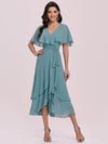 Simple Tea Length V Neck Chiffon Bridesmaid Dress-Dusty Blue 4