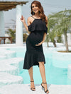 Bodycon Ruffles Sleeve Lotus Leaf Short Maternity Evening Dress-Black 5