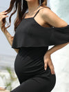 Bodycon Ruffles Sleeve Lotus Leaf Short Maternity Evening Dress-Black 3