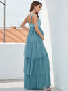 Deep V Sleeveless Empire Waist Mid-Rib Layered Tulle Long Maternity Dress-Dusty Blue 2