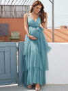 Deep V Sleeveless Empire Waist Mid-Rib Layered Tulle Long Maternity Dress-Dusty Blue 1