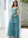 Deep V Sleeveless Empire Waist Mid-Rib Layered Tulle Long Maternity Dress-Dusty Blue 5