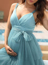 Deep V Sleeveless Empire Waist Mid-Rib Layered Tulle Long Maternity Dress-Dusty Blue 3