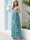 Deep V Sleeveless Empire Waist Mid-Rib Layered Tulle Long Maternity Dress-Dusty Blue 4
