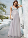 Mid-Rib Deep V Sequin Bodice Long Maternity Evening Dress-Grey 5