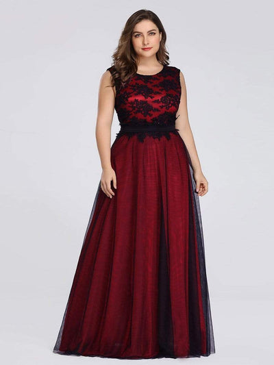 Plus Size Sleeveless Evening Dress with Black Brocade