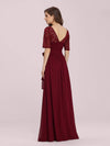 Plus Size Long Sleeve Floor Length Evening Dress-Burgundy 2