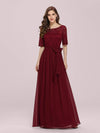 Plus Size Long Sleeve Floor Length Evening Dress-Burgundy 1