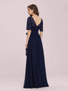 Plus Size Long Sleeve Floor Length Evening Dress-Navy Blue 2