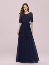 Plus Size Long Sleeve Floor Length Evening Dress-Navy Blue 1