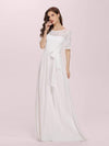 Plus Size Long Sleeve Floor Length Evening Dress-White 3