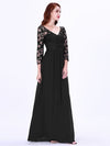 Floor Length Evening Dress With Sheer Lace Bodice-Black 3