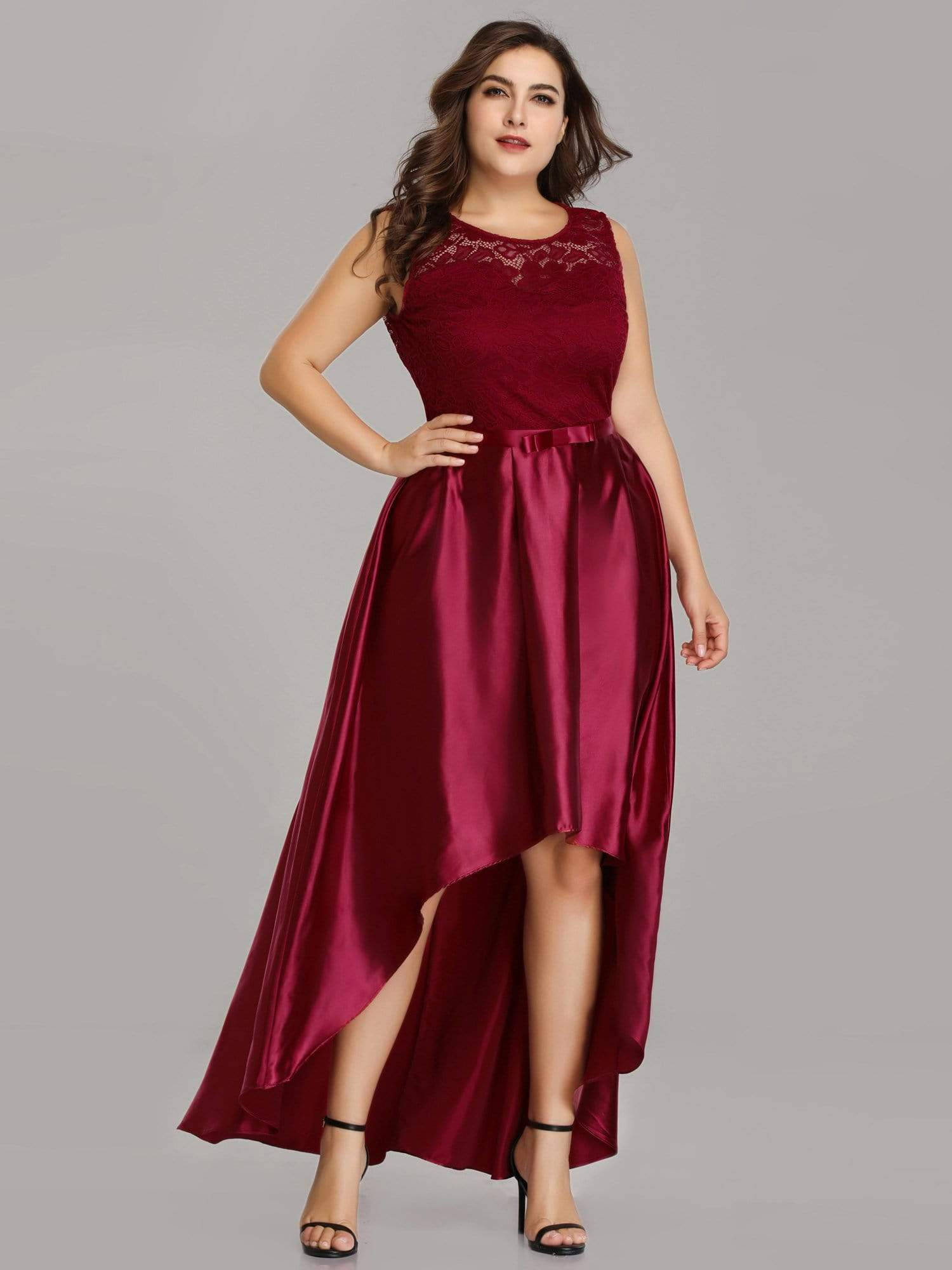 91b10b9d1a Plus Size High Low Lace & Satin Party Dress|Ever-Pretty - Ever Pretty AU