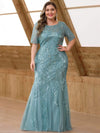 Delicate Embroidery Sequin Fishtail Evening Dress-Dusty Blue 4