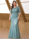 Delicate Embroidery Sequin Fishtail Evening Dress-Dusty Blue 6