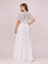 Plus Size Floral Lace Sequin Print Evening Dresses With Cap Sleeve-Cream 2