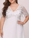 Plus Size Floral Lace Sequin Print Evening Dresses With Cap Sleeve-Cream 5