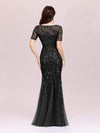 Floral Sequin Print Maxi Long Fishtail Tulle Dresses With Half Sleeve-Black 2