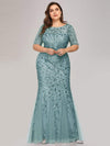 Floral Sequin Print Maxi Long Plus Size Mermaid Tulle Dresses-Dusty Blue 3