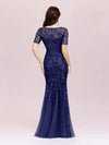Floral Sequin Print Maxi Long Fishtail Tulle Dresses With Half Sleeve-Navy Blue 2