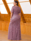 Floral Sequin Print Maxi Long Fishtail Tulle Dresses With Half Sleeve-Purple Orchid 7
