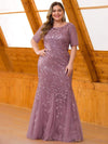 Floral Sequin Print Maxi Long Fishtail Tulle Dresses With Half Sleeve-Purple Orchid 6