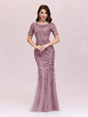 Floral Sequin Print Maxi Long Fishtail Tulle Dresses With Half Sleeve-Purple Orchid 3