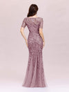 Floral Sequin Print Maxi Long Fishtail Tulle Dresses With Half Sleeve-Purple Orchid 4