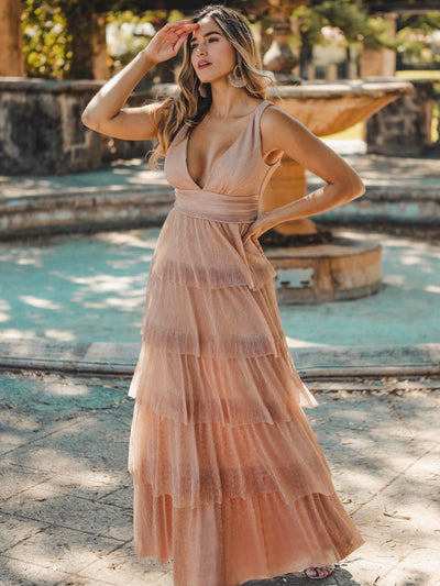 V Neck Shimmery Tiered Evening Dress