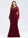 Plus Size Fishtail Dresses With Long Lace Sleeve-Burgundy 3