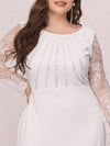 Fishtail Dresses With Long Lace Sleeve-Cream 5