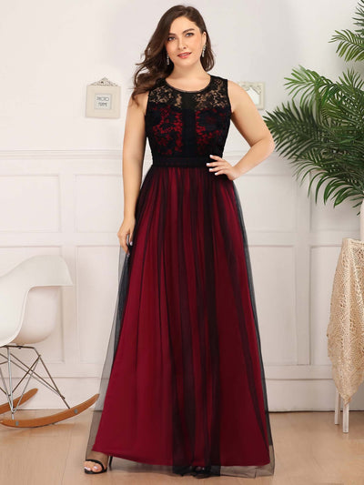 Plus Size Maxi Long Prom Dresses with Mesh
