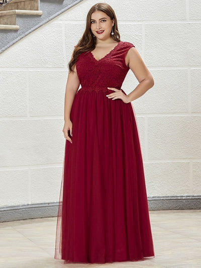 Floor Length Plus Size Lace Prom Patry Dresses for Women