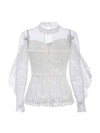 Ruffled Lace Mesh Hollow Out Long Sleeves Embroidery White Blouse-White 7