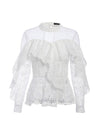 Ruffled Lace Mesh Hollow Out Long Sleeves Embroidery White Blouse-White 6