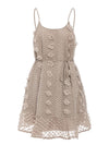 Sexy Spaghetti Strap Flower Embroidery Short Summer Beach Dress-Khaki 3