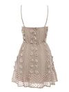 Sexy Spaghetti Strap Flower Embroidery Short Summer Beach Dress-Khaki 4