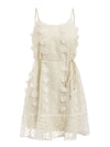 Sexy Spaghetti Strap Flower Embroidery Short Summer Beach Dress-Beige 3
