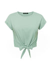 Women'S Casual Solid Cotton Spring Summer Holiday T-Shirt-Green 2