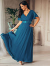 Long Empire Waist Evening Dress With Short Flutter Sleeves-Teal 3
