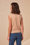 Women'S Round Neck Sleeveless Blouse Tank Tops-Camel 4